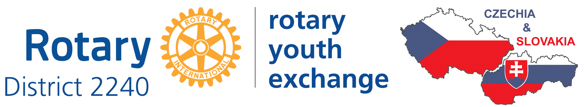 Rotary District 2240 Youth Exchange Czechia & Slovakia