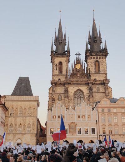 Protest in Prague center